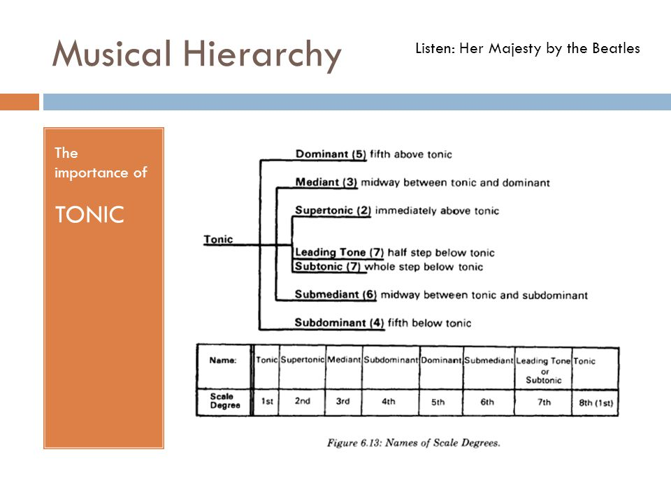 Musical Hierarchy The importance of TONIC Listen: Her Majesty by the Beatles