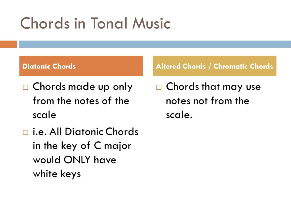 Chords in Tonal Music  Chords made up only from the notes of the scale  i.e. All Diatonic Chords in the key of C major would ONLY have white keys 