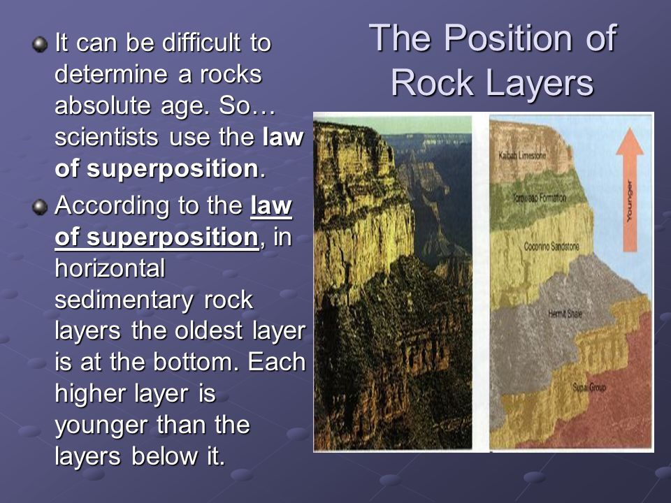 The Position of Rock Layers It can be difficult to determine a rocks absolute age. So… scientists use the law of superposition. According to the law o