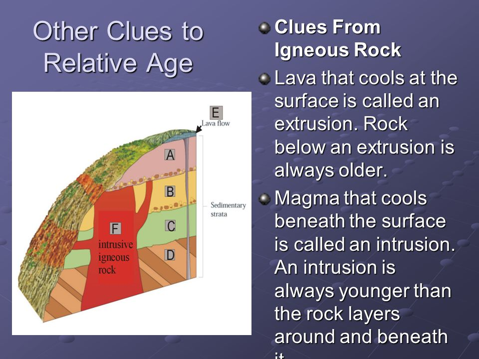Other Clues to Relative Age Clues From Igneous Rock Lava that cools at the surface is called an extrusion. Rock below an extrusion is always older. Ma