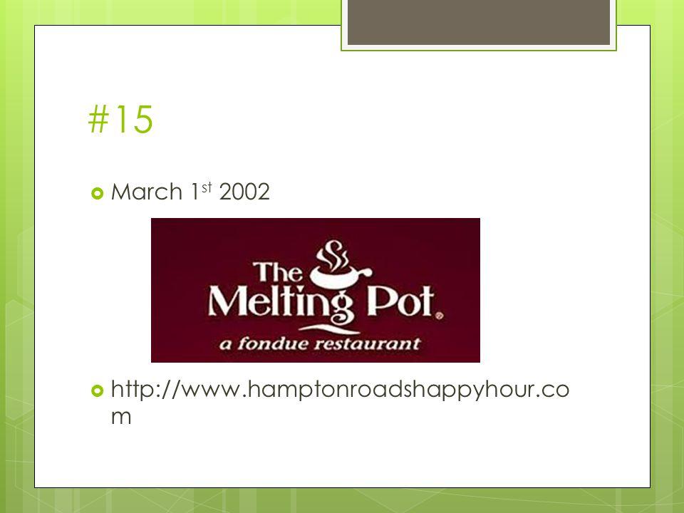 #15  March 1 st 2002  http://www.hamptonroadshappyhour.co m