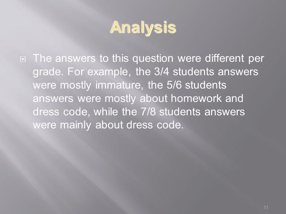 11 Analysis  The answers to this question were different per grade.