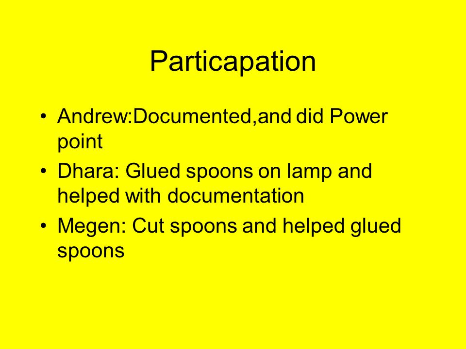 Particapation Andrew:Documented,and did Power point Dhara: Glued spoons on lamp and helped with documentation Megen: Cut spoons and helped glued spoon