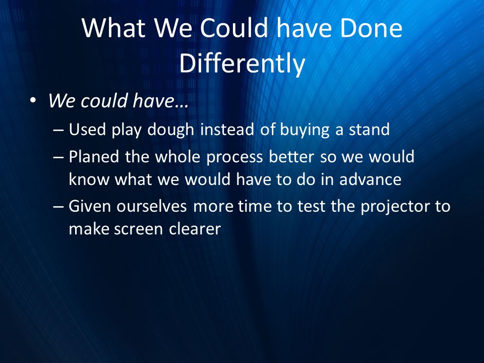 What We Could have Done Differently We could have… – Used play dough instead of buying a stand – Planed the whole process better so we would know what we would have to do in advance – Given ourselves more time to test the projector to make screen clearer