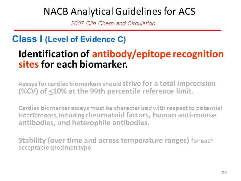 NACB Analytical Guidelines for ACS Identification of antibody/epitope recognition sites for each biomarker.