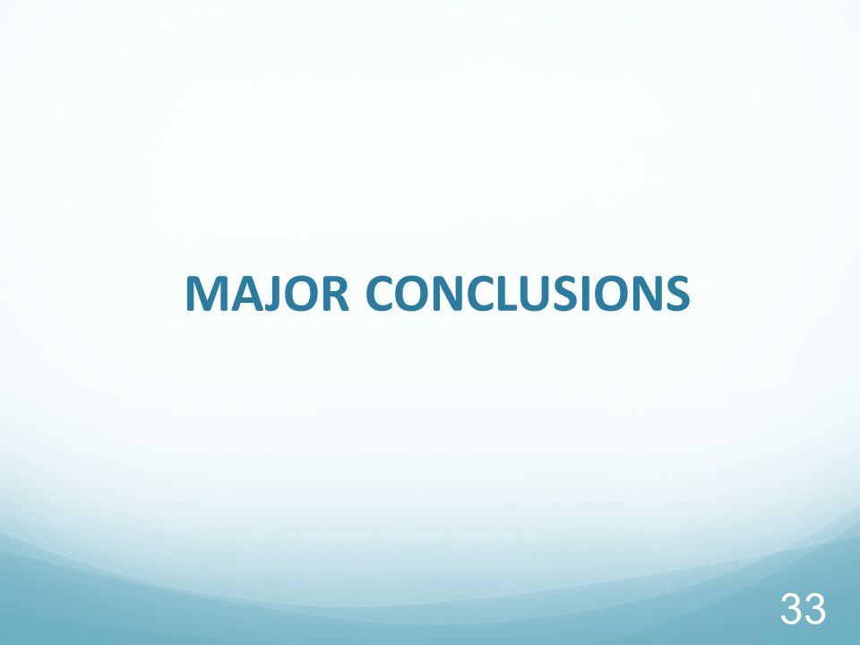 MAJOR CONCLUSIONS 33