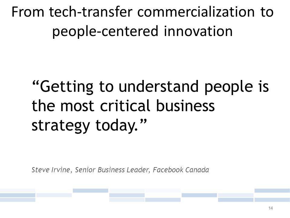 14 Getting to understand people is the most critical business strategy today. Steve Irvine, Senior Business Leader, Facebook Canada From tech-transfer commercialization to people-centered innovation