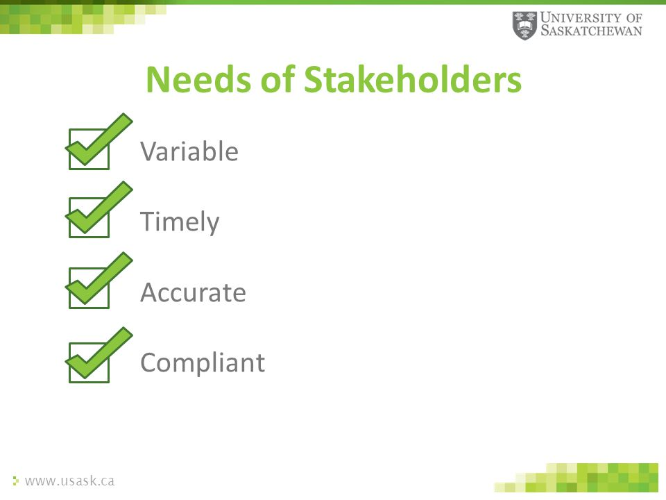 www.usask.ca Variable Timely Accurate Compliant Needs of Stakeholders
