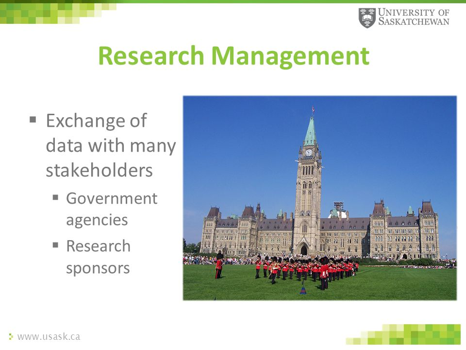 www.usask.ca  Exchange of data with many stakeholders  Government agencies  Research sponsors Research Management