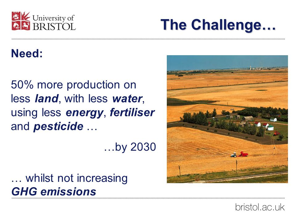 Need: 50% more production on less land, with less water, using less energy, fertiliser and pesticide … …by 2030 … whilst not increasing GHG emissions The Challenge…