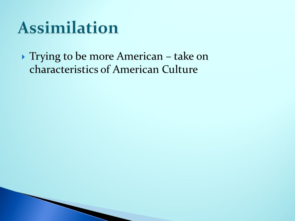  Trying to be more American – take on characteristics of American Culture