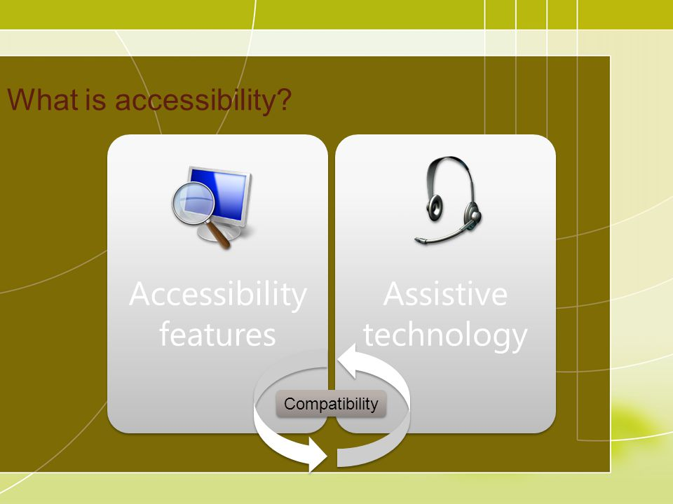 What is accessibility Accessibility features Assistive technology Compatibility