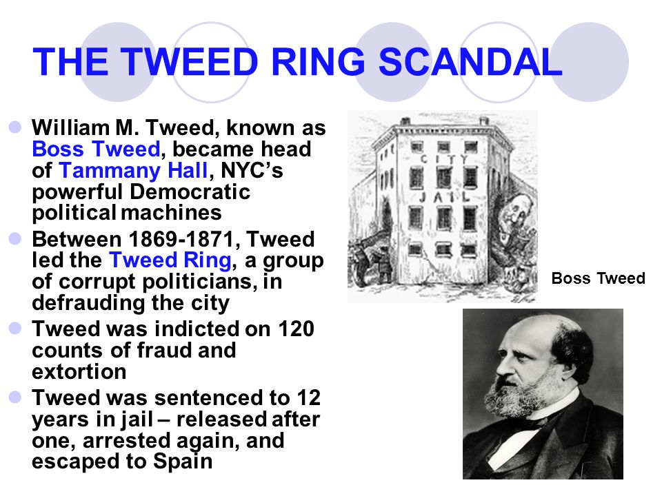 THE TWEED RING SCANDAL William M. Tweed, known as Boss Tweed, became head of Tammany Hall, NYC's powerful Democratic political machines Between 1869-1