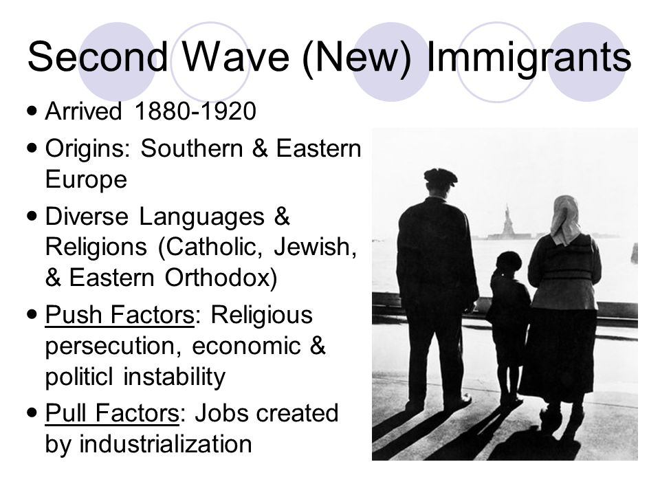 Second Wave (New) Immigrants Arrived 1880-1920 Origins: Southern & Eastern Europe Diverse Languages & Religions (Catholic, Jewish, & Eastern Orthodox)