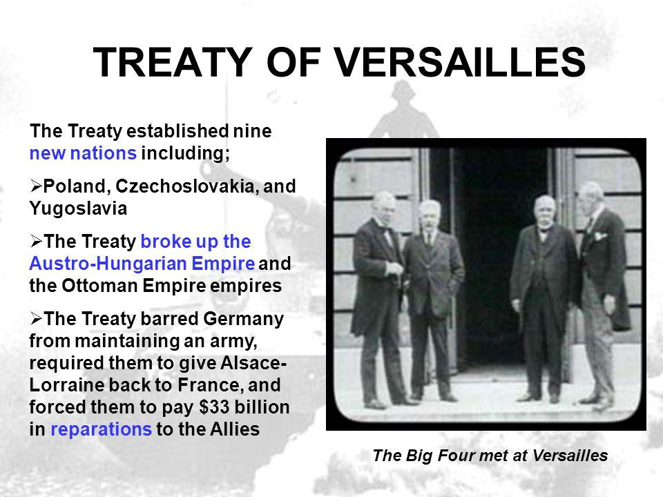TREATY OF VERSAILLES The Treaty established nine new nations including;  Poland, Czechoslovakia, and Yugoslavia  The Treaty broke up the Austro-Hung