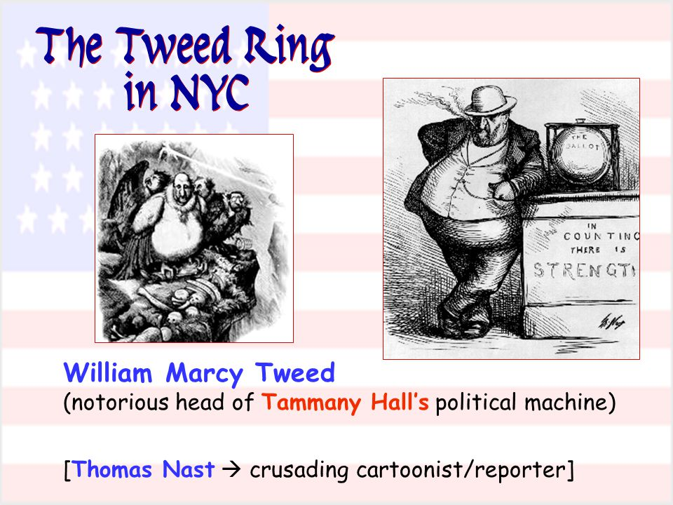 The Tweed Ring in NYC William Marcy Tweed (notorious head of Tammany Hall's political machine) [Thomas Nast  crusading cartoonist/reporter]
