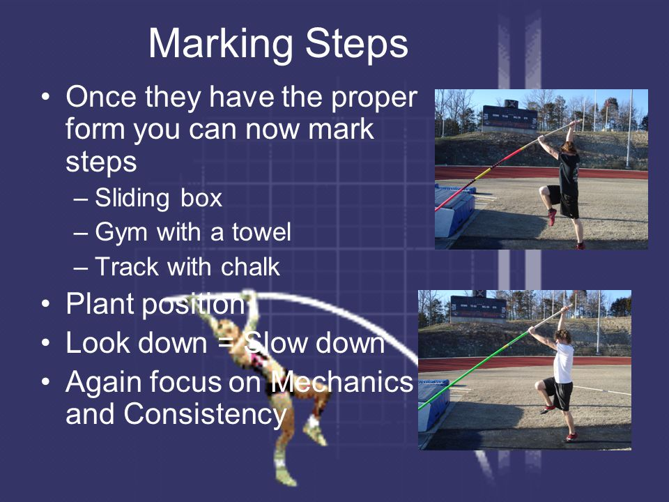 Marking Steps Once they have the proper form you can now mark steps –Sliding box –Gym with a towel –Track with chalk Plant position Look down = Slow d