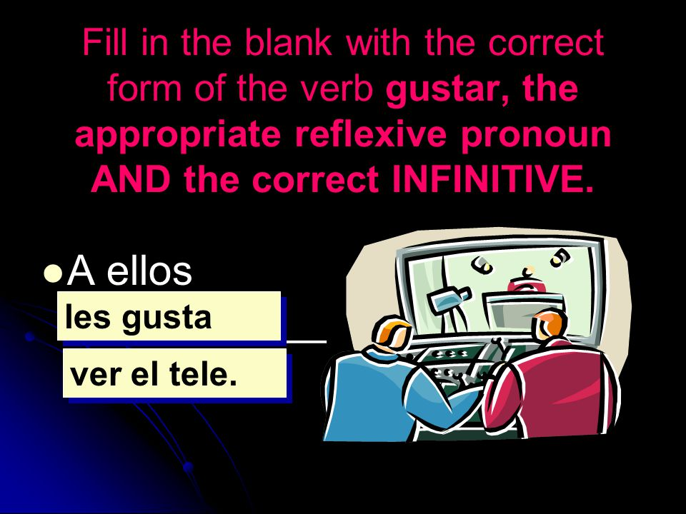 Fill in the blank with the correct form of the verb gustar, the appropriate reflexive pronoun AND the correct INFINITIVE. A ellos ___________ _______