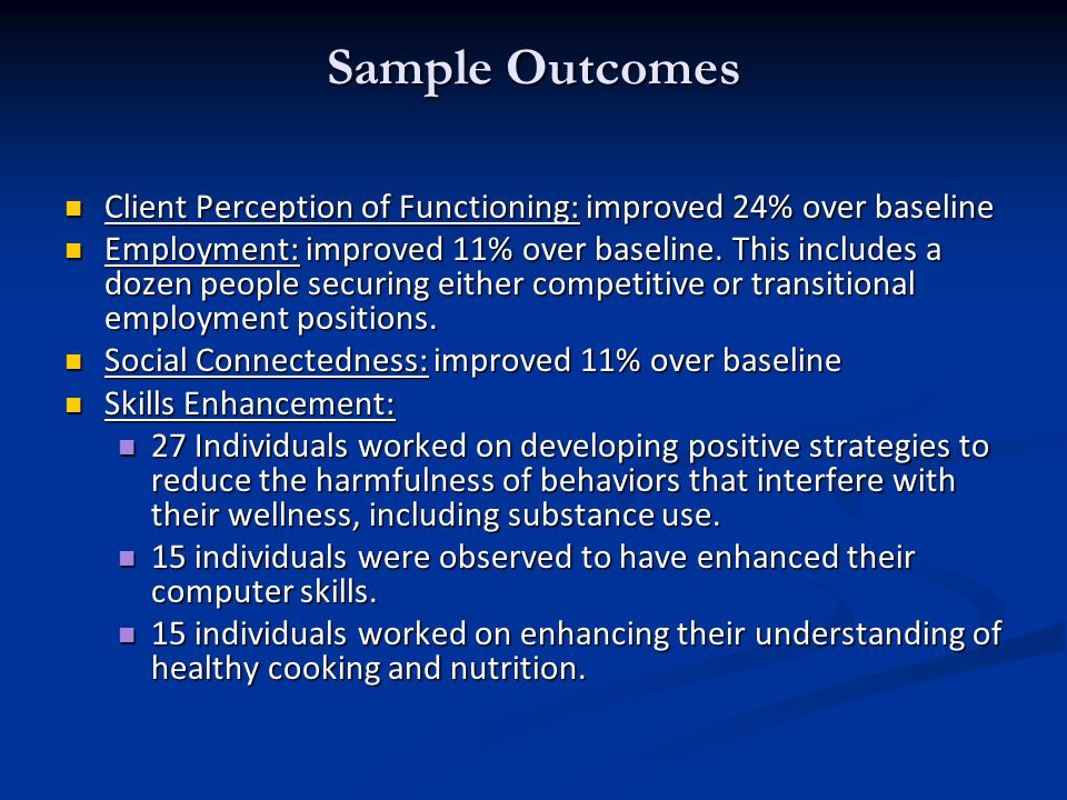 Sample Outcomes Client Perception of Functioning: improved 24% over baseline Client Perception of Functioning: improved 24% over baseline Employment: improved 11% over baseline.