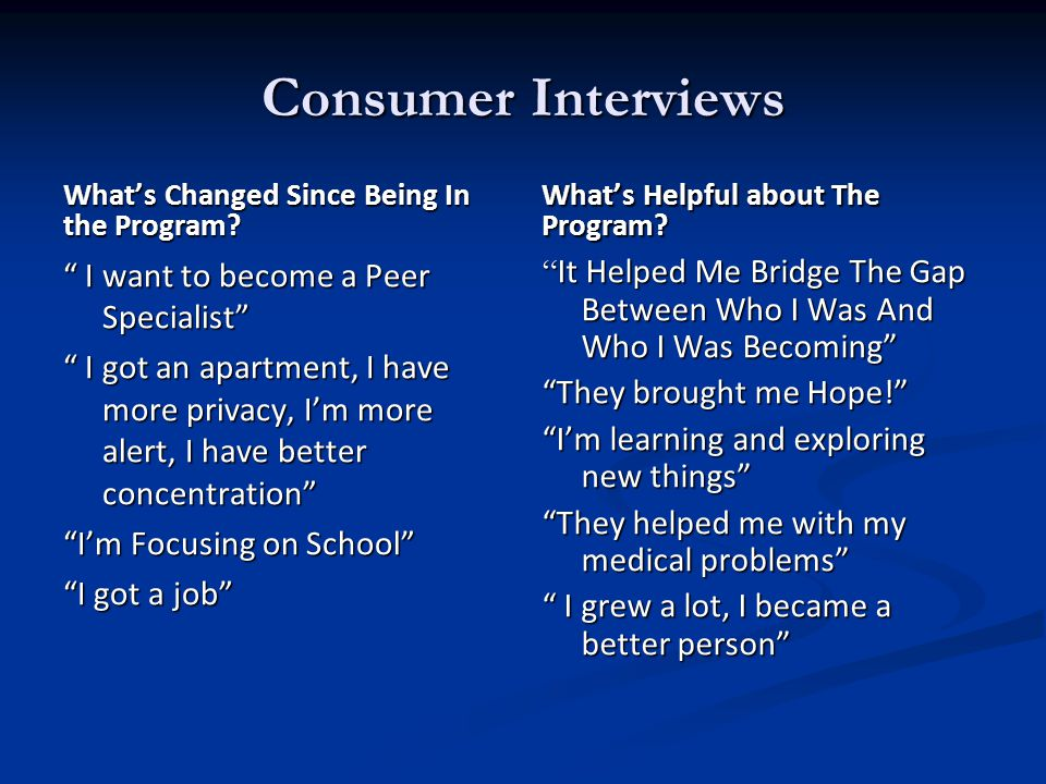 Consumer Interviews What's Changed Since Being In the Program.