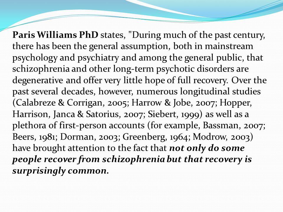 Paris Williams PhD states,