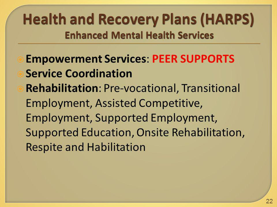  Empowerment Services: PEER SUPPORTS  Service Coordination  Rehabilitation: Pre-vocational, Transitional Employment, Assisted Competitive, Employment, Supported Employment, Supported Education, Onsite Rehabilitation, Respite and Habilitation 22