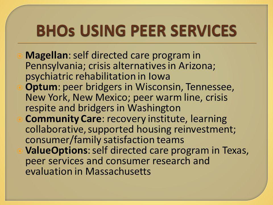 Magellan: self directed care program in Pennsylvania; crisis alternatives in Arizona; psychiatric rehabilitation in Iowa  Optum: peer bridgers in W