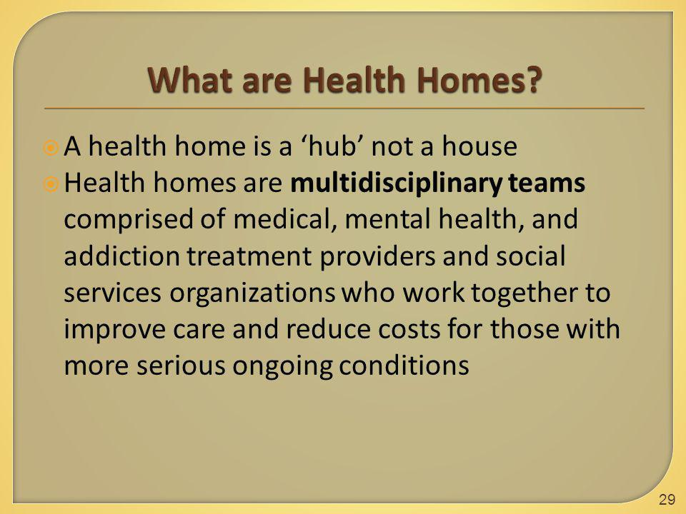  A health home is a 'hub' not a house  Health homes are multidisciplinary teams comprised of medical, mental health, and addiction treatment providers and social services organizations who work together to improve care and reduce costs for those with more serious ongoing conditions 29