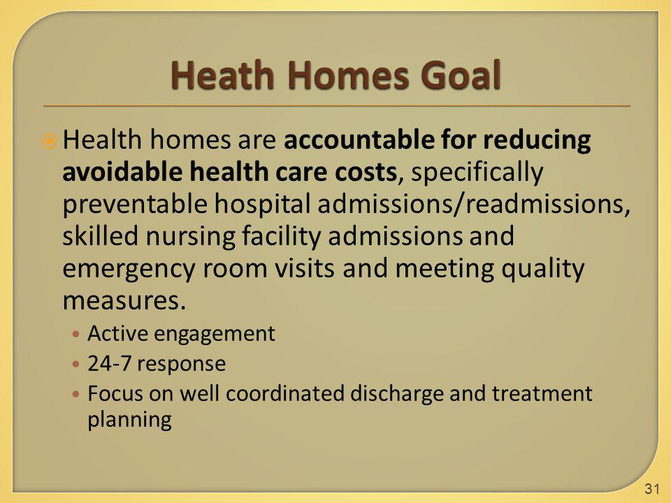  Health homes are accountable for reducing avoidable health care costs, specifically preventable hospital admissions/readmissions, skilled nursing facility admissions and emergency room visits and meeting quality measures.