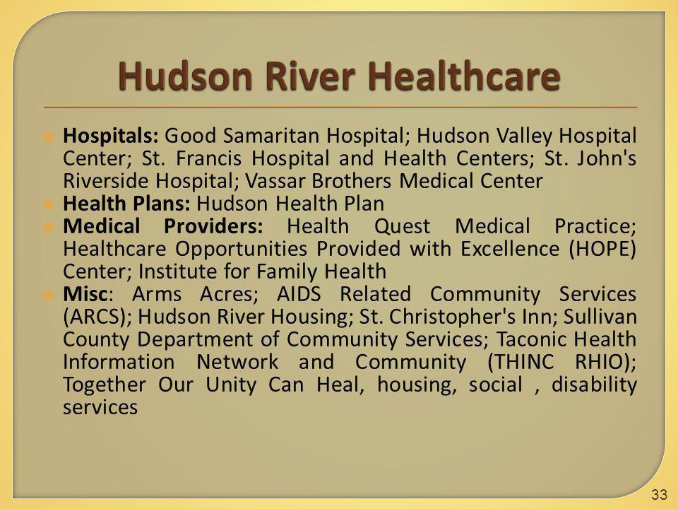  Hospitals: Good Samaritan Hospital; Hudson Valley Hospital Center; St. Francis Hospital and Health Centers; St. John's Riverside Hospital; Vassar Br