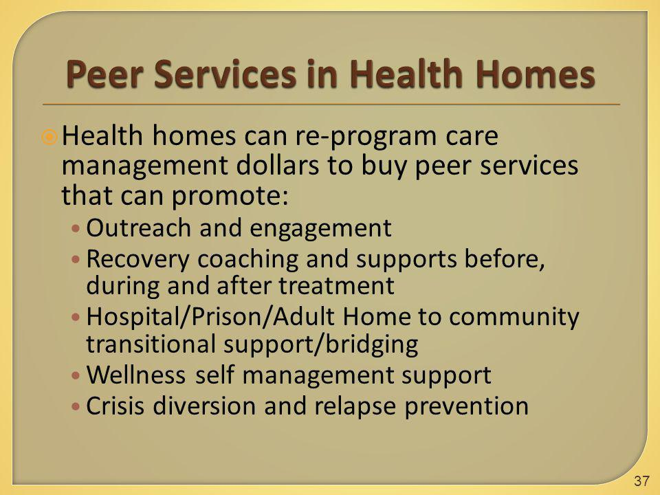  Health homes can re-program care management dollars to buy peer services that can promote: Outreach and engagement Recovery coaching and supports be