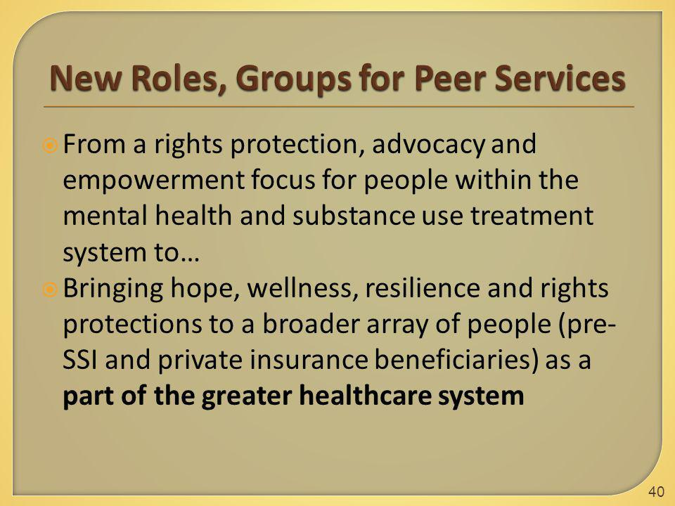  From a rights protection, advocacy and empowerment focus for people within the mental health and substance use treatment system to…  Bringing hope,