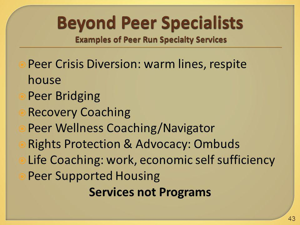  Peer Crisis Diversion: warm lines, respite house  Peer Bridging  Recovery Coaching  Peer Wellness Coaching/Navigator  Rights Protection & Advocacy: Ombuds  Life Coaching: work, economic self sufficiency  Peer Supported Housing Services not Programs 43
