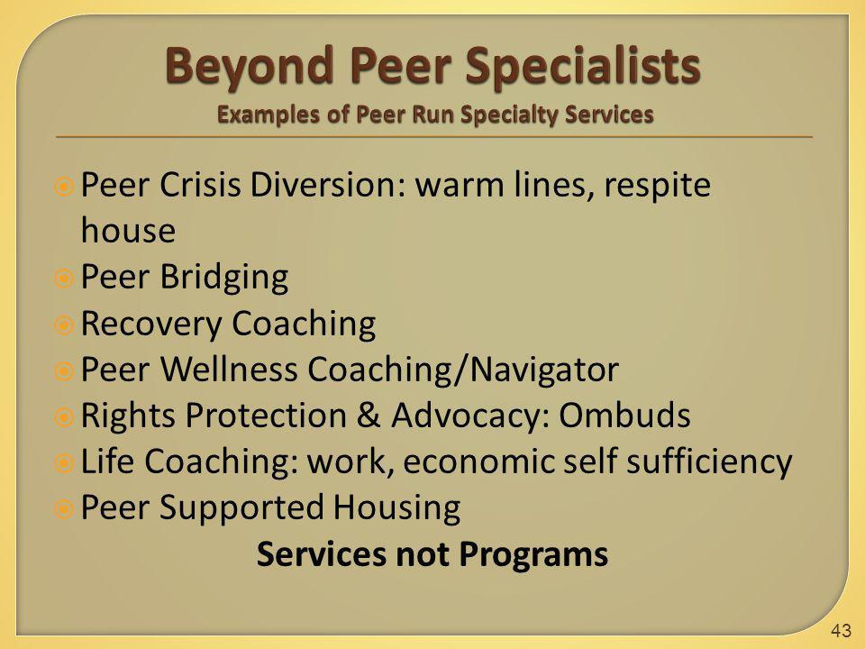  Peer Crisis Diversion: warm lines, respite house  Peer Bridging  Recovery Coaching  Peer Wellness Coaching/Navigator  Rights Protection & Advoca