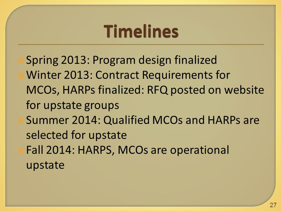  Spring 2013: Program design finalized  Winter 2013: Contract Requirements for MCOs, HARPs finalized: RFQ posted on website for upstate groups  Summer 2014: Qualified MCOs and HARPs are selected for upstate  Fall 2014: HARPS, MCOs are operational upstate 27
