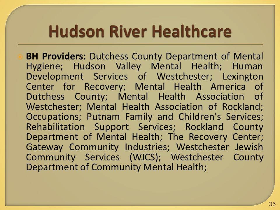  BH Providers: Dutchess County Department of Mental Hygiene; Hudson Valley Mental Health; Human Development Services of Westchester; Lexington Center for Recovery; Mental Health America of Dutchess County; Mental Health Association of Westchester; Mental Health Association of Rockland; Occupations; Putnam Family and Children s Services; Rehabilitation Support Services; Rockland County Department of Mental Health; The Recovery Center; Gateway Community Industries; Westchester Jewish Community Services (WJCS); Westchester County Department of Community Mental Health; 35