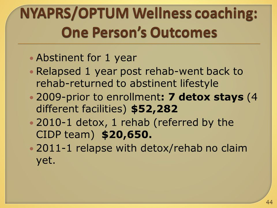 Abstinent for 1 year Relapsed 1 year post rehab-went back to rehab-returned to abstinent lifestyle 2009-prior to enrollment: 7 detox stays (4 different facilities) $52,282 2010-1 detox, 1 rehab (referred by the CIDP team) $20,650.