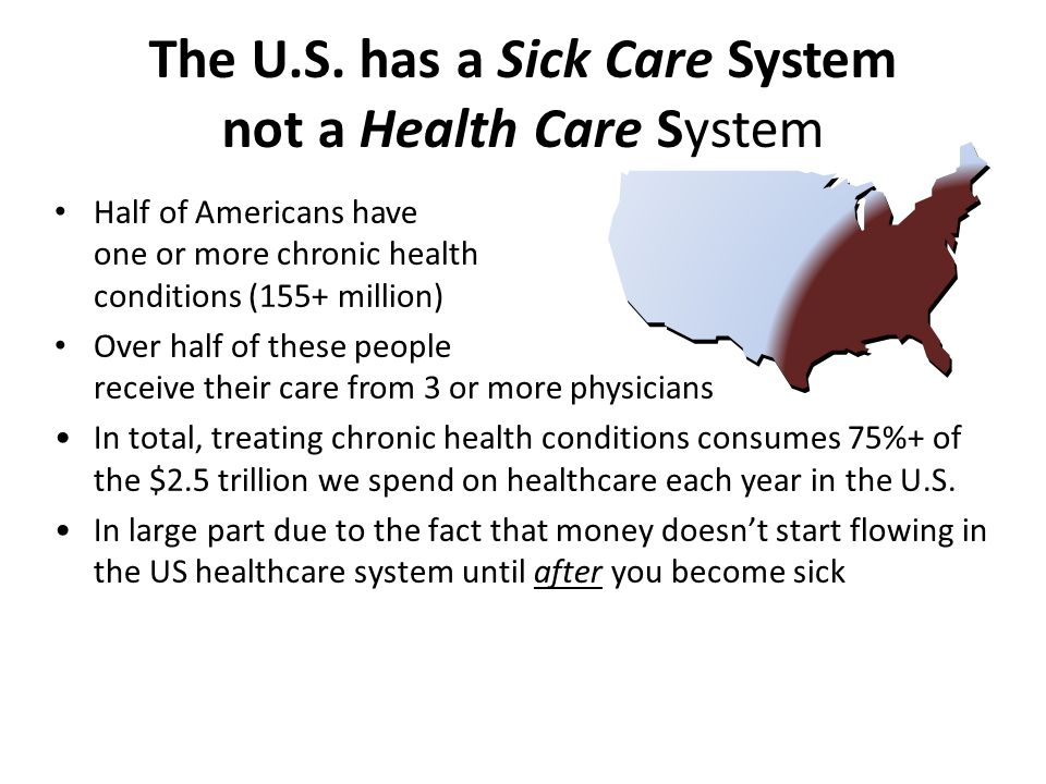 The U.S. has a Sick Care System not a Health Care System Half of Americans have one or more chronic health conditions (155+ million) Over half of thes