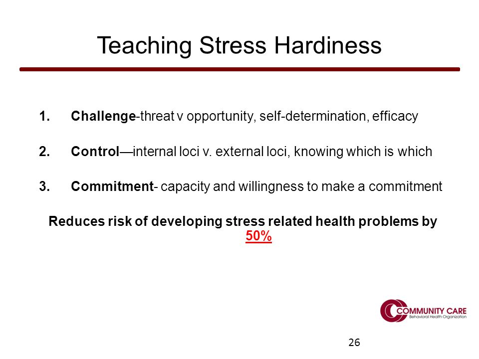 26 Teaching Stress Hardiness 1.Challenge-threat v opportunity, self-determination, efficacy 2.Control—internal loci v.