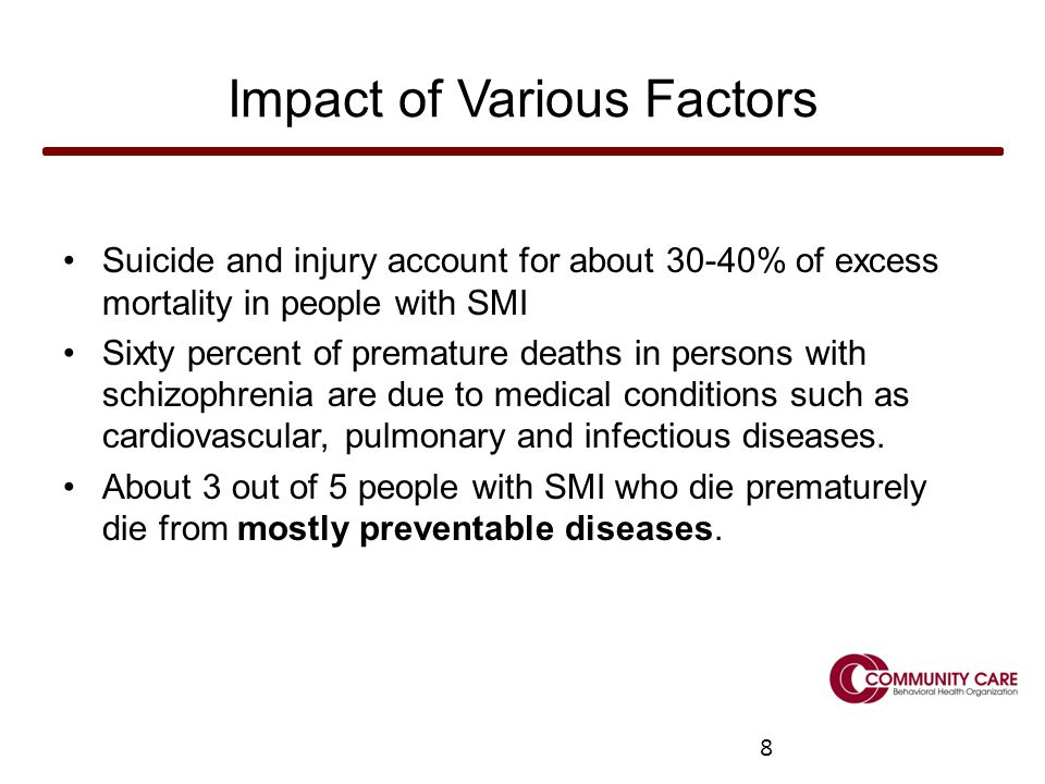 8 Impact of Various Factors Suicide and injury account for about 30-40% of excess mortality in people with SMI Sixty percent of premature deaths in persons with schizophrenia are due to medical conditions such as cardiovascular, pulmonary and infectious diseases.