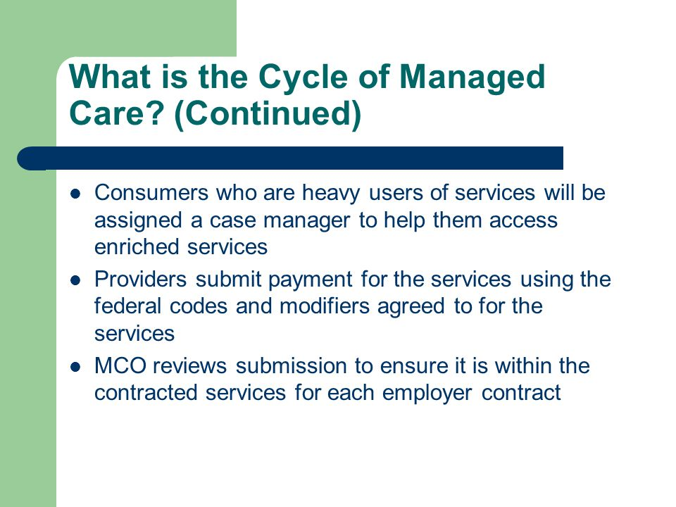 What is the Cycle of Managed Care.