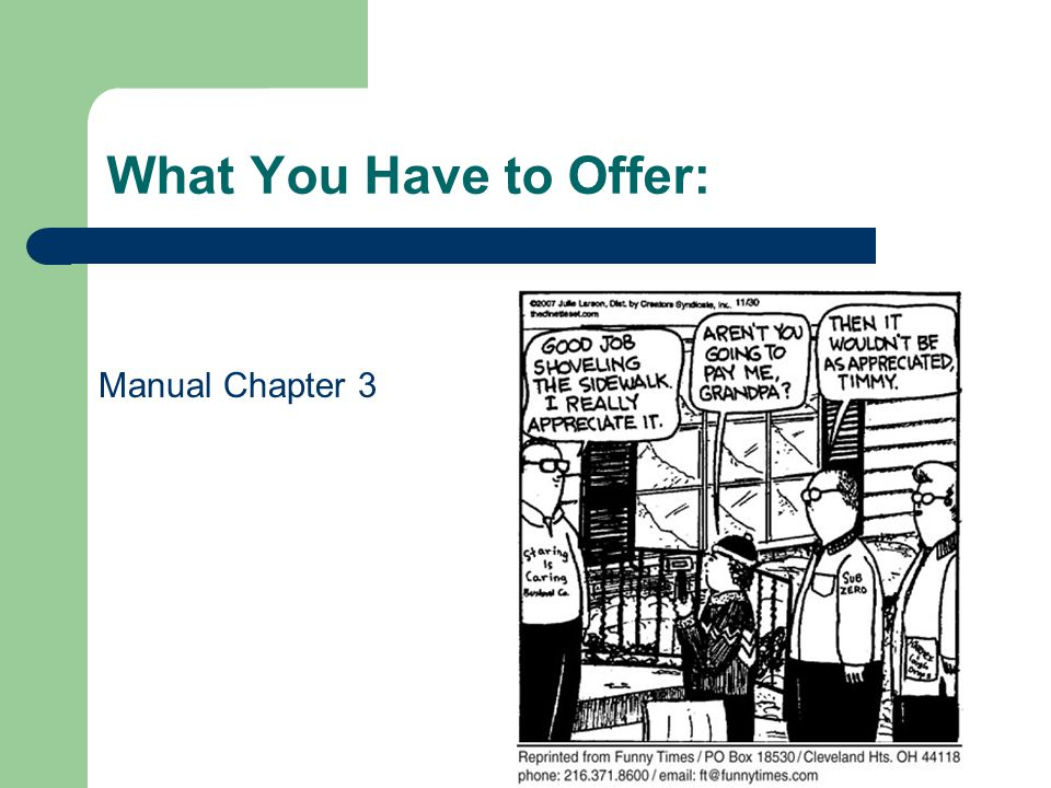 What You Have to Offer: Manual Chapter 3