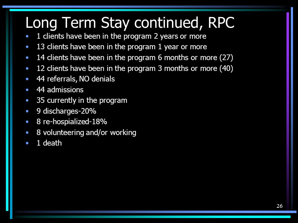 Long Term Stay continued, RPC 1 clients have been in the program 2 years or more 13 clients have been in the program 1 year or more 14 clients have be