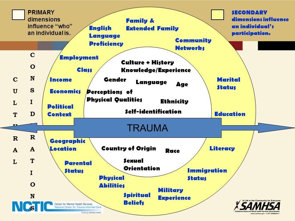 Geographic Location Community Networks Family & Extended Family Marital Status English Language Proficiency Spiritual Beliefs Education Parental Statu