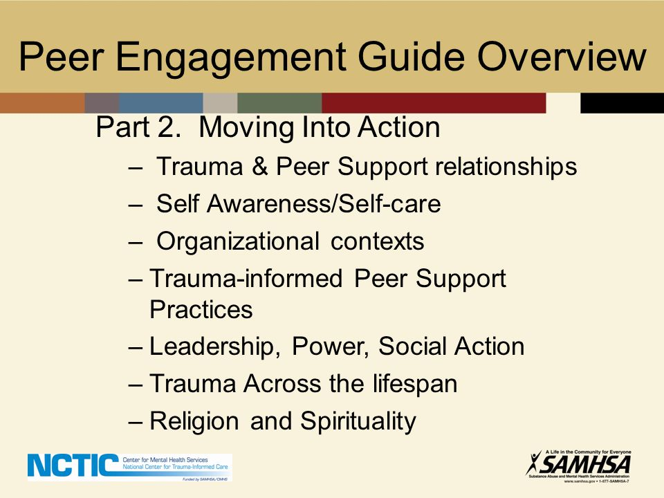 Peer Engagement Guide Overview Part 2. Moving Into Action – Trauma & Peer Support relationships – Self Awareness/Self-care – Organizational contexts –