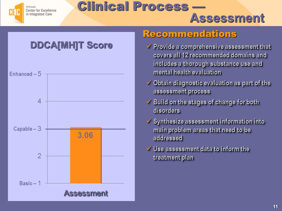 11 Enhanced – Capable – Basic – Recommendations Clinical Process — Assessment Provide a comprehensive assessment that covers all 12 recommended domains and includes a thorough substance use and mental health evaluation Provide a comprehensive assessment that covers all 12 recommended domains and includes a thorough substance use and mental health evaluation Obtain diagnostic evaluation as part of the assessment process Obtain diagnostic evaluation as part of the assessment process Build on the stages of change for both disorders Build on the stages of change for both disorders Synthesize assessment information into main problem areas that need to be addressed Synthesize assessment information into main problem areas that need to be addressed Use assessment data to inform the treatment plan Use assessment data to inform the treatment plan Provide a comprehensive assessment that covers all 12 recommended domains and includes a thorough substance use and mental health evaluation Provide a comprehensive assessment that covers all 12 recommended domains and includes a thorough substance use and mental health evaluation Obtain diagnostic evaluation as part of the assessment process Obtain diagnostic evaluation as part of the assessment process Build on the stages of change for both disorders Build on the stages of change for both disorders Synthesize assessment information into main problem areas that need to be addressed Synthesize assessment information into main problem areas that need to be addressed Use assessment data to inform the treatment plan Use assessment data to inform the treatment plan 3.06