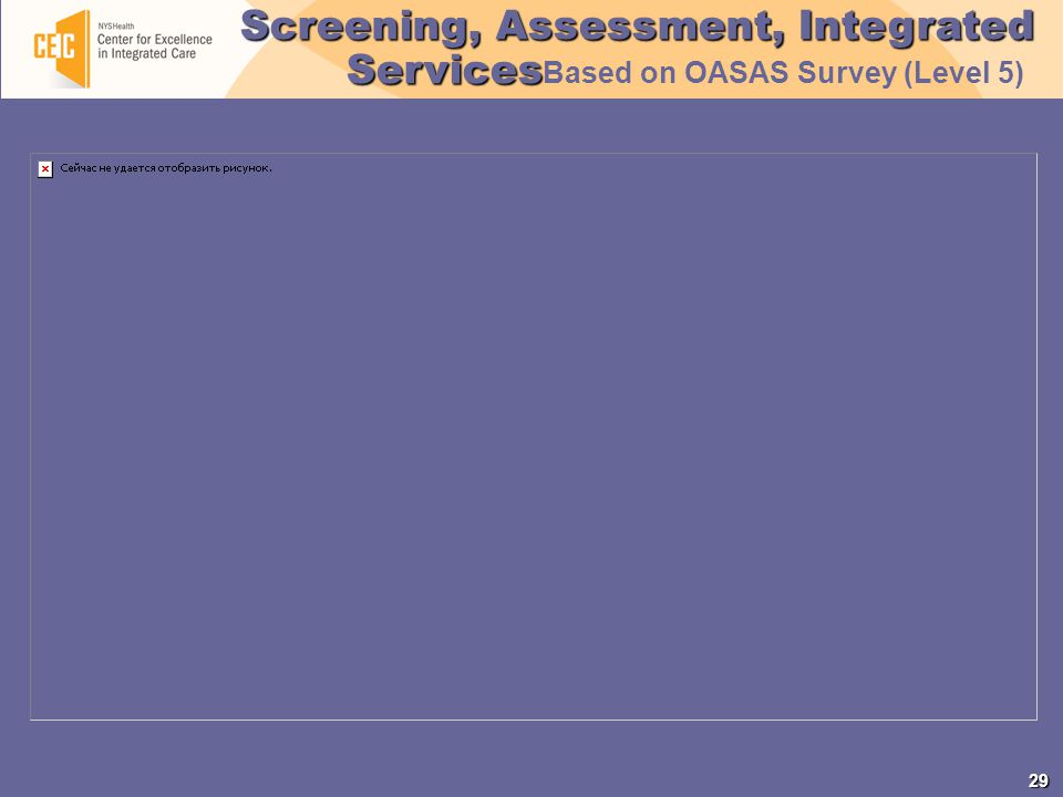 29 Screening, Assessment, Integrated Services Screening, Assessment, Integrated Services Based on OASAS Survey (Level 5)