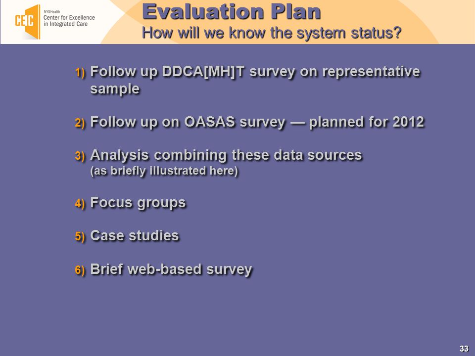 33 1) Follow up DDCA[MH]T survey on representative sample 2) Follow up on OASAS survey — planned for 2012 3) Analysis combining these data sources (as briefly illustrated here) 4) Focus groups 5) Case studies 6) Brief web-based survey 1) Follow up DDCA[MH]T survey on representative sample 2) Follow up on OASAS survey — planned for 2012 3) Analysis combining these data sources (as briefly illustrated here) 4) Focus groups 5) Case studies 6) Brief web-based survey Evaluation Plan How will we know the system status