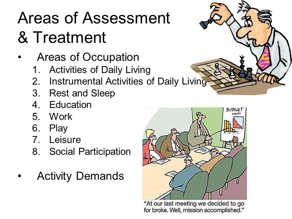 Areas of Assessment & Treatment Areas of Occupation 1.Activities of Daily Living 2.Instrumental Activities of Daily Living 3.Rest and Sleep 4.Education 5.Work 6.Play 7.Leisure 8.Social Participation Activity Demands