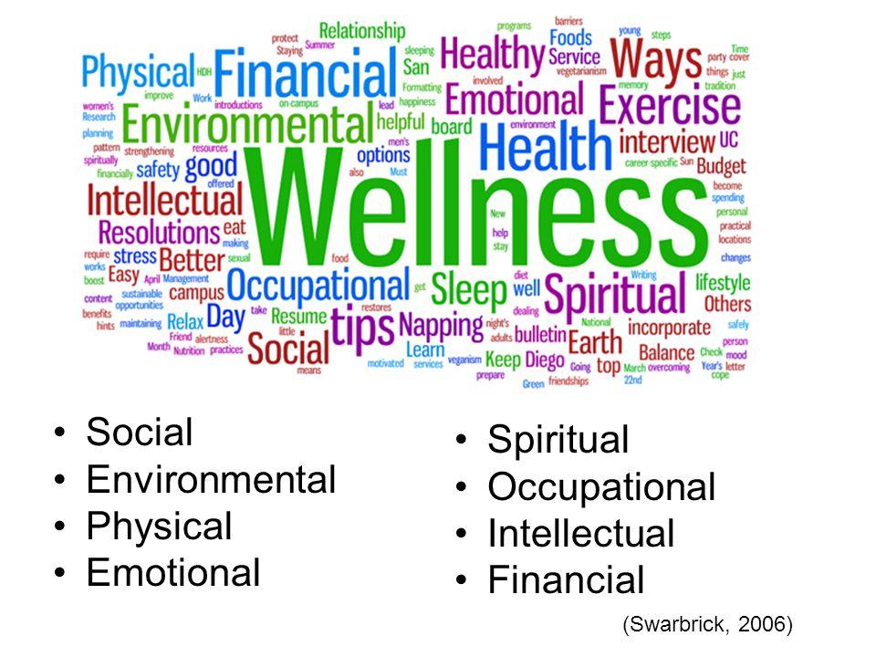 Social Environmental Physical Emotional Spiritual Occupational Intellectual Financial (Swarbrick, 2006)